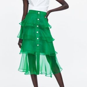 Zara Jewel Button Organza Skirt